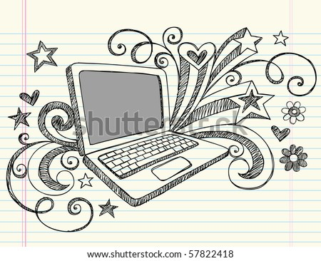 Hand-Drawn Business Laptop Computer Sketchy Notebook Doodles with Swirls, Hearts, and Stars- Vector Illustration Design Elements on Lined Sketchbook Paper Background - stock vector
