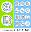 Hand drawn Business,office icon set - stock photo
