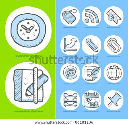 Hand drawn Business,office icon set - stock vector
