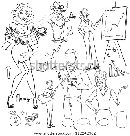 Hand drawn business people, sketch, doodles - stock vector