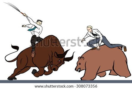 hand drawn businessman and Bull fighting with bear  - stock vector