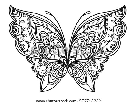 Hand Drawn Butterfly Zentangle Style Inspired Stock Vector (Royalty ...