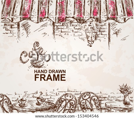 Hand drawn cafe background - stock vector