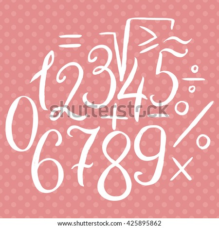 Hand drawn calligraphic font, digits and mathematical symbols. Handwritten vector numbers and signs - stock vector