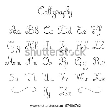 Hand drawn calligraphic font in vector format - stock vector