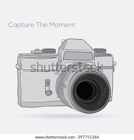 Hand drawn camera icon with quote. vector illustration