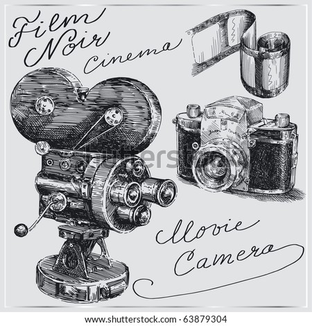 hand drawn cameras - stock vector