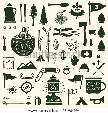 Hand drawn camping icons and sketched scout graphics - stock vector