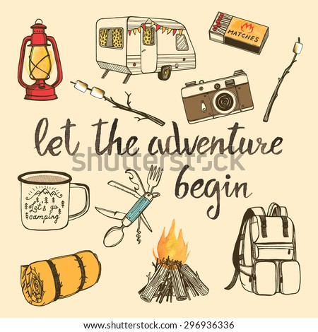 Hand drawn camping set with watercolor elements. Camp bonfire, vintage lantern, photo camera,  roasted marshmallow, camper knife, enamel mug, camper van, sleeping bag, matchbox.  - stock vector