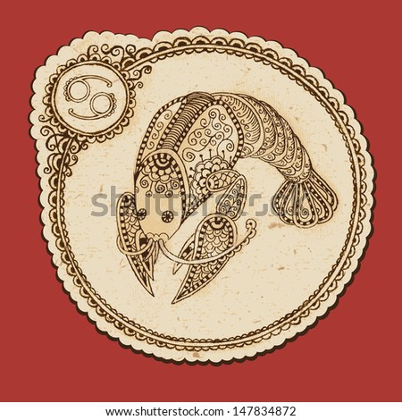 Hand drawn cancer ornament with elements in the ethnic style. Zodiac sign - Cancer. Vector illustration. - stock vector
