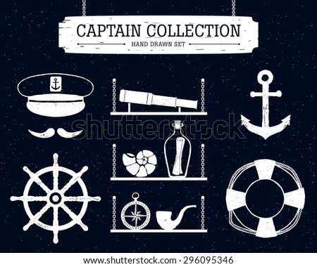 Hand drawn captain collection of elements on black background.