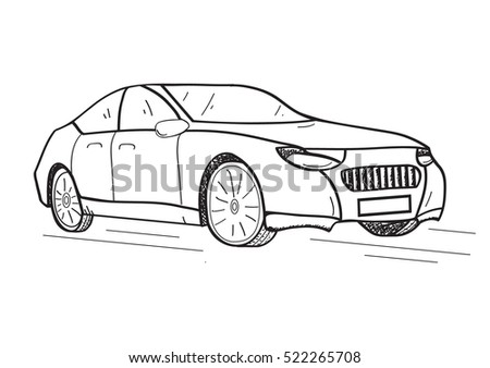 Hand Drawn Car Vehicle Sedan Cartoon Vehicle Stock Vector 522265708 ...