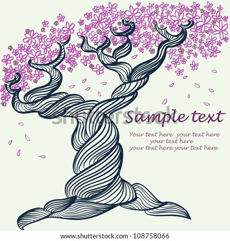 Hand drawn card with a blossomed tree.Illustration with the tree, pink flowers and space for your text. Vector illustration. - stock vector