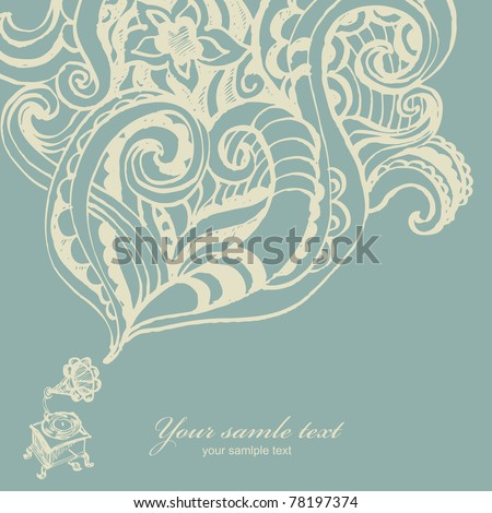 Hand drawn card with gramophone - stock vector