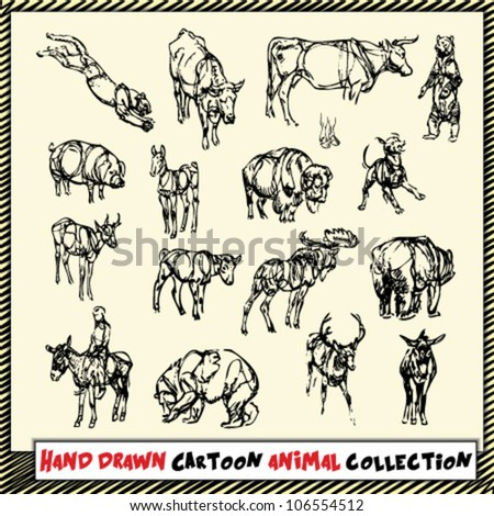 Hand drawn cartoon animal collection in black on light yellow background - stock vector