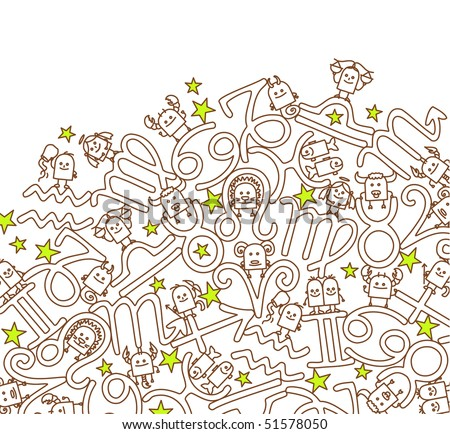 hand drawn cartoon  background - Zodiac signs - stock vector