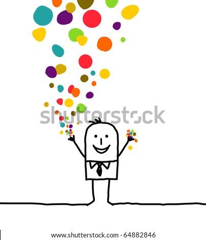 hand drawn cartoon character - man & confetti - stock vector