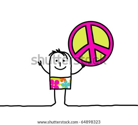 hand drawn cartoon character - peace & love - stock vector