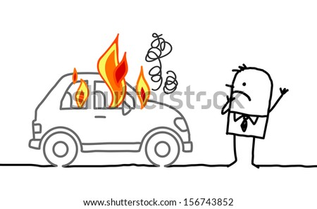 Hand drawn cartoon characters - man watching a burning car - stock vector
