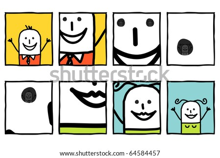 hand drawn cartoon characters - zoom on couple eyes - stock vector