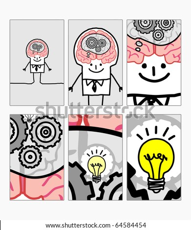hand drawn cartoon characters - zoom on man - idea ! - stock vector