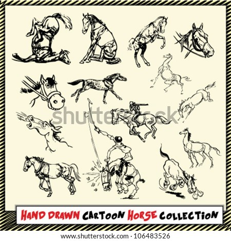 Hand drawn cartoon horse collection in black on light yellow background