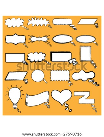 Hand drawn cartoon or comic thought and conversation bubble in vector illustration - stock vector