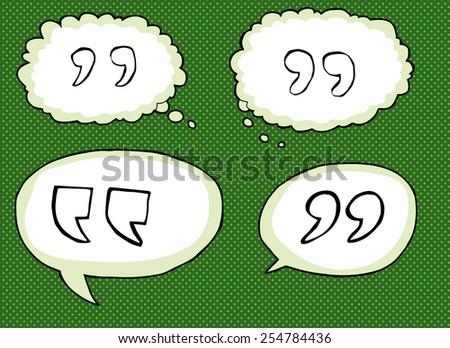 Hand drawn cartoon quotation marks over green - stock vector