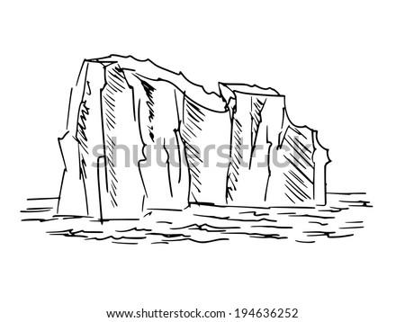 hand drawn, cartoon, sketch illustration of iceberg - stock vector