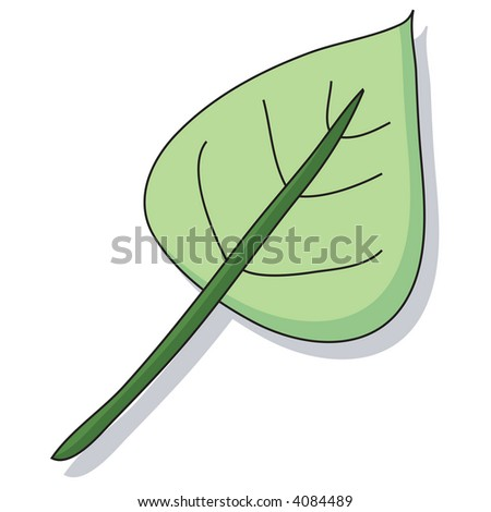 Hand drawn cartoon style leaf