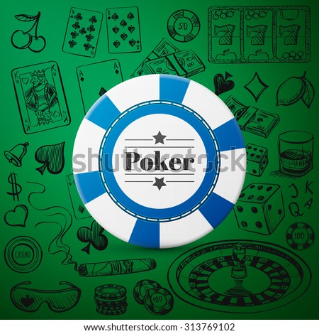 Hand drawn Casino Collection such as roulette, cards, cigar, whiskey with single blue casino chip - stock vector
