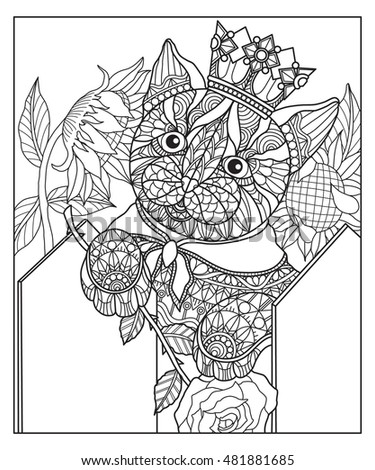 Hand Drawn Cat In The Garden For Color Book Adult Other Decorations Isolated On