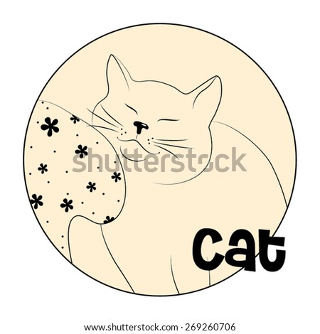 Hand drawn cat. Vector illustration. - stock vector