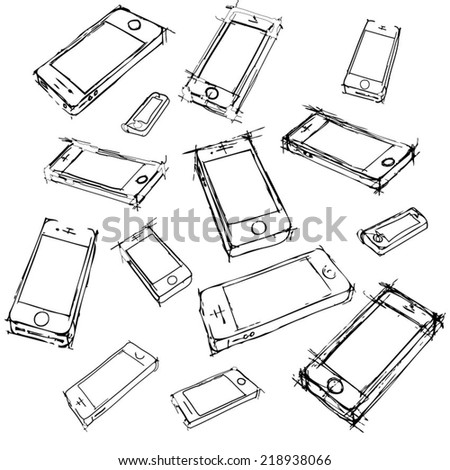 Hand drawn CellPhone. Vector Illustration. - stock vector