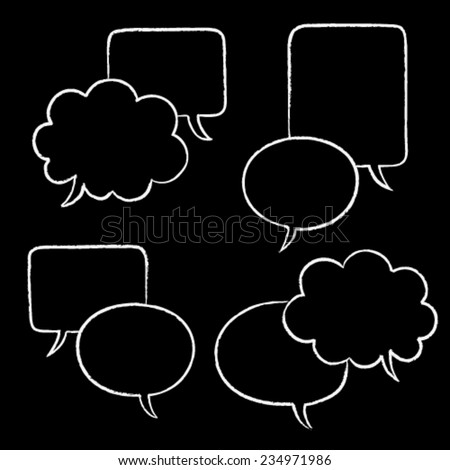 hand drawn chalk speaking bubbles, double template, dialog, chalkboard,  isolated design objects with empty space for your text here