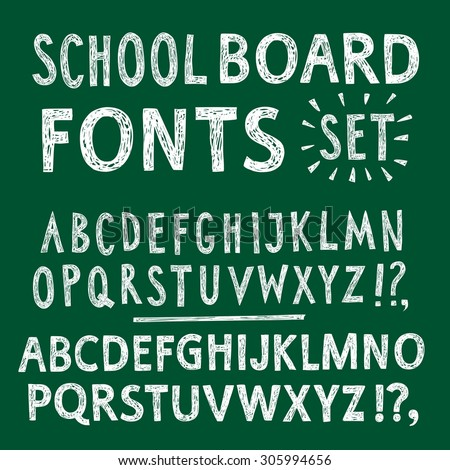Hand drawn chalk textured vector ABC letters set. Comic school font on green board background for your design.   - stock vector
