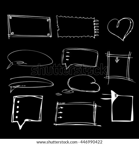 Hand Drawn Chalkboard Doodles, bubbles, arrows, banners  on black background. Vector