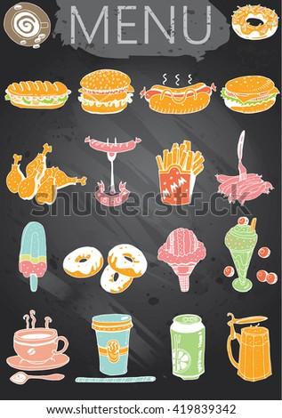 Hand-drawn chalkboard menu. Retro style fast food designs. - stock vector
