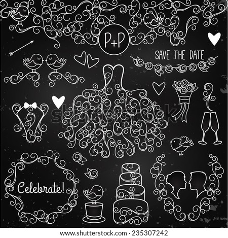 Hand Drawn Chalkboard Wedding Vector Set with Dress, Tuxedo and Monogram Border - stock vector
