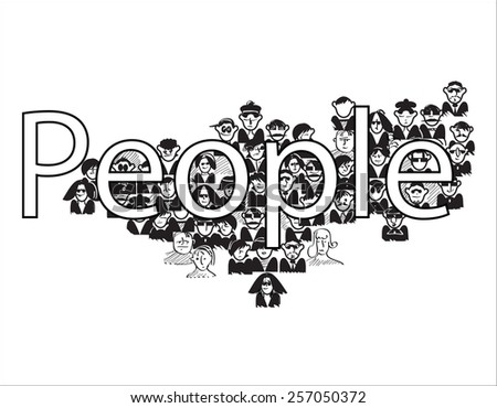 Hand drawn characters around word People, illustration on white - stock vector