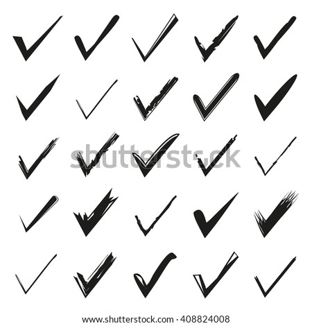 Hand Drawn Check Mark Tick Symbol Stock Vector Hd Royalty Free