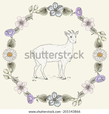 Hand drawn cheerful goat and floral frame. Ornate colorful illustration. Vintage engraving style - stock vector
