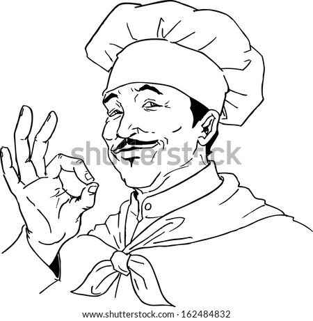 French Chef Drawing Hand Drawn Chef