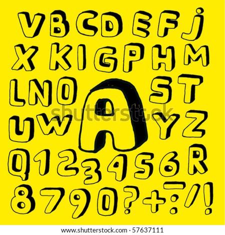Hand Drawn Childish Alphabet - stock vector
