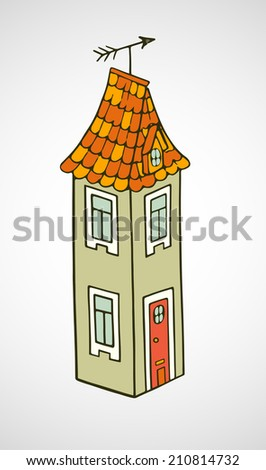 Hand drawn childish cartoon house isolated on white background. - stock vector