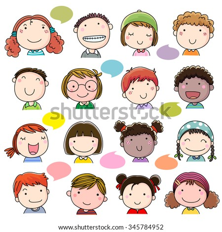 Hand drawn children faces set - stock vector