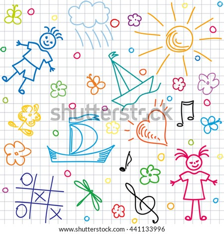 Hand drawn children motives on squared background, seamless background