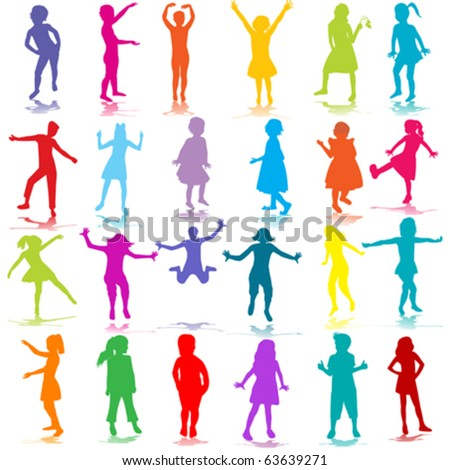 Hand drawn children silhouettes - stock vector