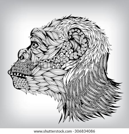 Hand Drawn Chimpanzee Illustration, Vector background EPS10 - stock vector