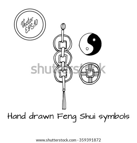 Hand Drawn Chinese Feng Shui Symbols Stock Vector 359391872